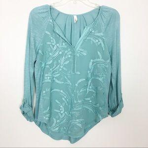 Anthropologie Tiny Turquoise Embroidered Top- XS